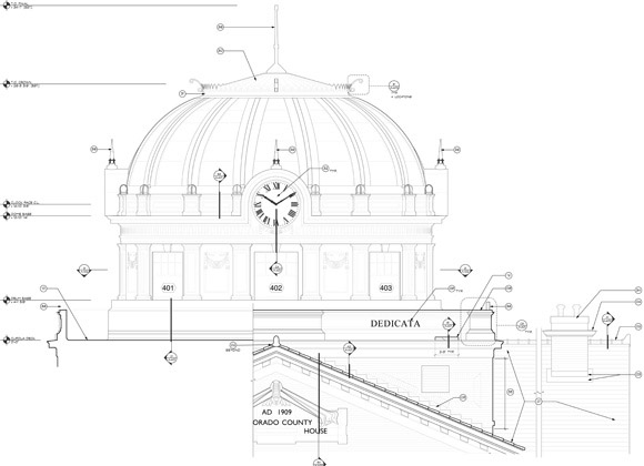 Colorado County Courthouse dome drawing