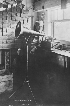 Edison Laboratories Thomas Edison with Phonograph