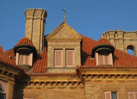Sealy Mansion Open Gates roof
