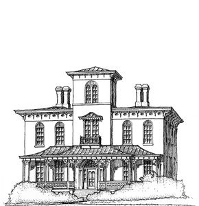A sketch of Rosedale from our Christmas Card, 2003